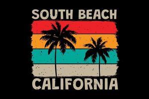 camiseta de la playa del sur de california cielo estilo retro vintage vector