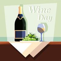 wine bottle with wineglass, wine day label vector