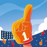 hand glove with number 1 fan, yellow foam finger vector