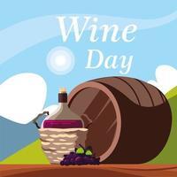 bottle of wine in wicker basket, label wine day vector