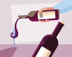 hands holding a bottle and glass of wine vector