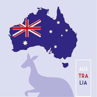 australia map with flag, label austratia vector