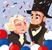 cartoon of presidents george washington and abraham lincoln, president day vector