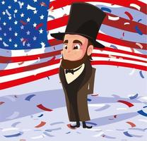 president abraham lincoln with flag usa , president day vector