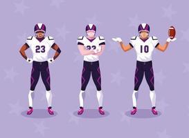sportsmen with uniform, men team players american football vector