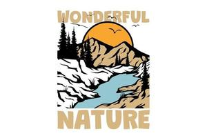 T-shirt wonderful nature pine tree mountain vintage style hand drawn vector