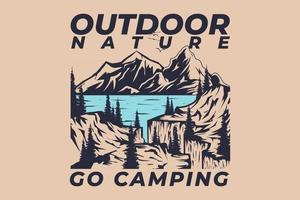 T-shirt retro outdoor nature go camping vintage style hand drawn vector