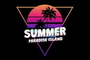 T-shirt summer paradise island sunset retro vintage style vector