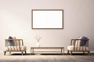 3d rendering of Interior design for living room with picture frame on wall photo