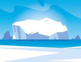 paisaje ártico con cielo azul e iceberg, polo norte vector