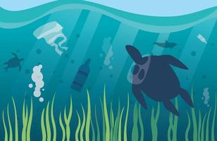 ocean pollution with plastic waste, environmental disaster vector