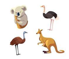 Conjunto de animales salvajes de Australia sobre fondo blanco. vector
