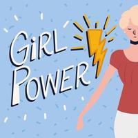 girl power, empowered woman portrait vector