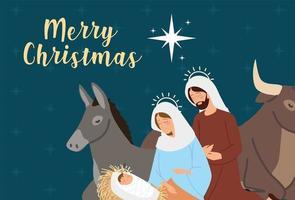natividad, tarjeta de felicitación con pesebre de dibujos animados de la sagrada familia vector