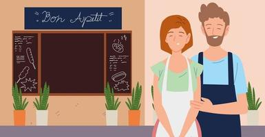 couple with apron in the street restaurant exterior vector