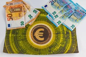 20 and 50 euro banknotes with currency symbol photo