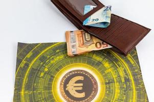20 and 50 euro banknotes with currency symbol and wallet photo