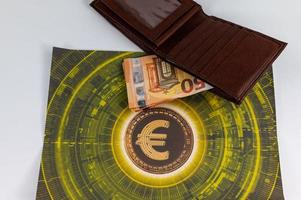 50 euro bills with currency symbol and wallet photo
