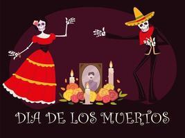 dia de muertos, altar con catrina esqueleto foto velas y flores, celebracion mexicana vector