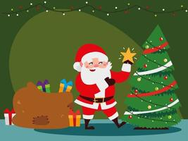 christmas santa claus decorating tree with star, gifts bag and lights vector