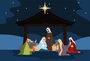 natividad, escena del pesebre sagrada familia reyes sabios buey burro en la noche vector