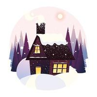 winter landscape house snowfall forest trees panoramic vector