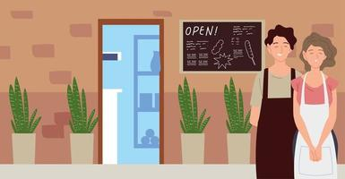 couple with apron street restaurant facade with chalkboard vector