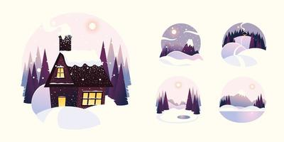 winter landscape house with mountains and pine trees vector