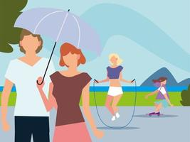 people walking with umbrella, jumping rope and riding skateboard activities outdoor vector