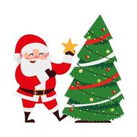 christmas santa claus decorating tree with star cartoon character vector