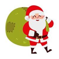 christmas santa claus with gifts bag cartoon character vector