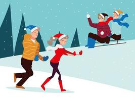 christmas people season winter celebration, riding sled and walking on snow vector