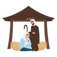 natividad, pesebre, maría, con, niño jesús, y, joseph, en, el, choza vector