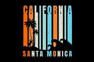 T-shirt beach silhouette california santa monica vector
