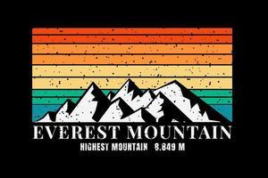 T-shirt everest mountain highest mountain vector
