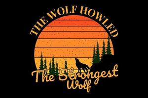 T-shirt silhouette the wolf howled vector