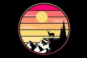 T-shirt silhouette deer on big mountain cliff vector
