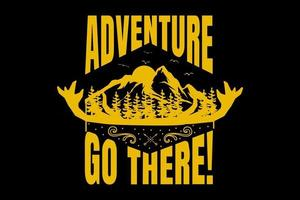 T-shirt typography mountain vintage adventure nature style vector