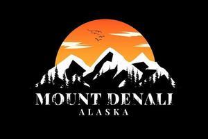 camiseta montaña denali silueta alaska vector
