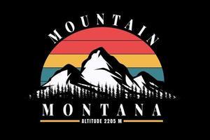 T-shirt mountain montana and pine trees vector