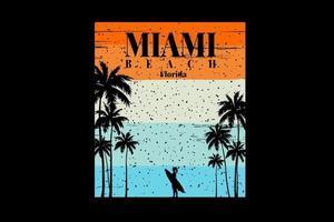 T-shirt surfer silhouette miami beach florida vector
