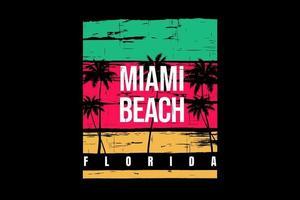 camiseta estilo retro miami beach florida diseño de árboles de coco vector