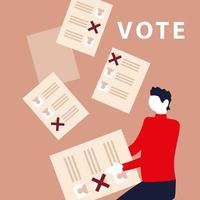 election day, man holding ballot and papers voting vector