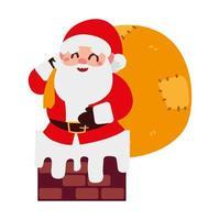 navidad santa claus con bolsa de regalos en el personaje de dibujos animados de la chimenea vector