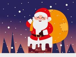 navidad santa claus con bolsa en el paisaje nocturno de la chimenea vector