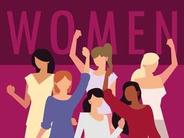 women rights feminist, female group hands up characters vector