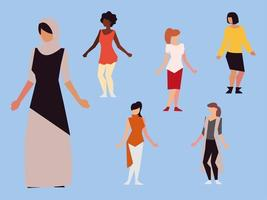 women rights feminist, female group diverse ethnicity vector