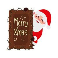 christmas santa claus with board lettering lights decoration cartoon vector