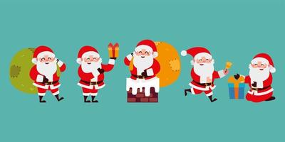 christmas santa claus cartoon character set icons over green background vector