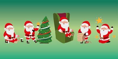 christmas santa claus cartoon different activities set icons vector